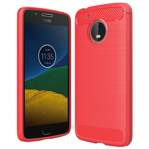 Flexi Carbon Fibre Tough Case for Motorola Moto G5 - Brushed Red